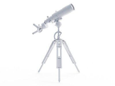 Fototapeta 3d rendered object illustration of an abstract white telescope