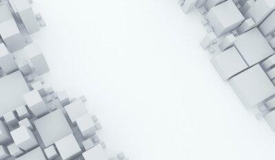 Fototapeta 3D rendering abstrakta Różnych rozmiarów sześcianów tła Odgórny widok