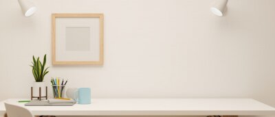 Fototapeta 3D rendering, minimal working space with stationery and decorations on white table and mock-up frame on the wall