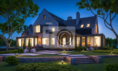 Fototapeta 3d rendering of modern cozy clinker house on the ponds with garage and pool for sale or rent with beautiful landscaping on background. Clear summer night with many stars on the sky.