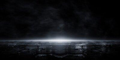 Fototapeta 3D rendering old wet asphalt, reflection of neon lights, a searchlight, smoke. Abstract light in a dark empty street with smoke, smog. Dark background scene of empty street, night view, night city.