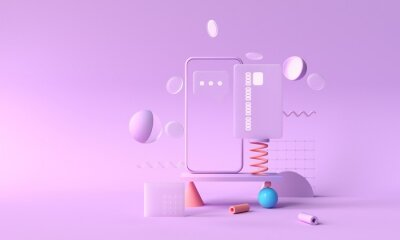 Fototapeta 3D rendering payment via credit card concept. Secure online payment transaction with smartphone. Internet banking via credit card on mobile. geometric object floating background