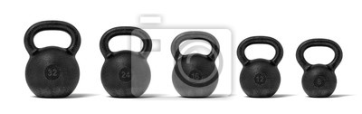 Fototapeta 3d rendering pięć czarnych żelaznych kettlebells w pojedynczej linii z różnymi ciężar stemplami 32, 24, 16, 12 i 8 kg.
