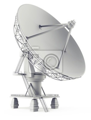 3d satelita antena na biały
