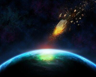 Fototapeta 3D tła przestrzeni z meteorytu