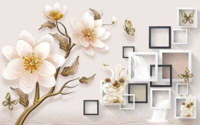 Fototapeta 3D wallpaper for home interior classic decorations background Flowers Classic bedroom interior illustration 3d wall art