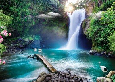 Fototapeta 3d wallpaper lake and sea or waterfall