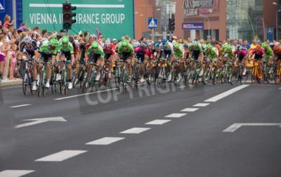 Fototapeta 71. Tour de Pologne, etap 3 Kielce - Rzeszów 05 sierpnia 2014 Theo Bos wygrywa