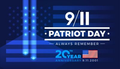 Fototapeta 9-11 Patriot Day Always Remember 9.11.2001 20 Years Anniversary with American flag - banner template blue lights