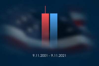 Fototapeta 9/11 USA Never Forget September 11, 2001. Vector illustration cover. Blurred Twin Towers WTC Patriot day, USA Blurred Flag Day of Remembrance, Memorial Day United States. 11.09.2001. Never Forget