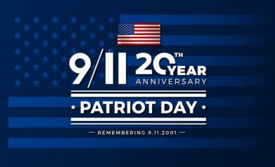 Fototapeta 911 USA September 11, 2001. Vector conceptual illustration for Patriot Day USA 20 Years for poster or banner. USA flag background, red, blue
