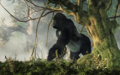 Fototapeta A big hairy ape waits at the edge of the jungle to welcome any intruders into his densely forested realm. The gorilla stands with an alert stance and an angry snarl. 3D Rendering