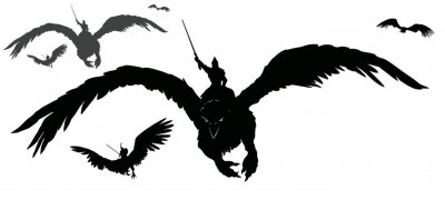 Fototapeta A black silhouette of an army of warriors flying on griffins into battle with swords at the ready. 2d illustration