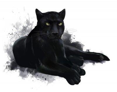 Fototapeta A large black Panther. Watercolor painting