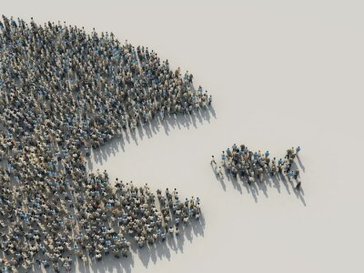 Fototapeta a large crowd of people in the shape of a fish hunts for a small