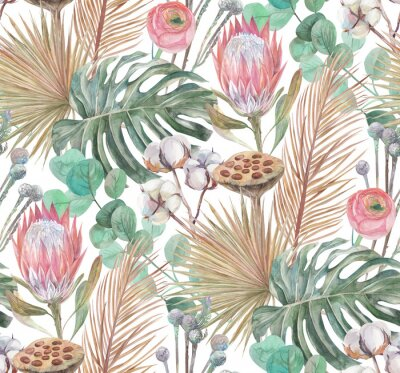 Fototapeta a modern boho style pattern tropical dried flowers and a proteus flower are painted in watercolor with sprigs of cotton a turquoise background