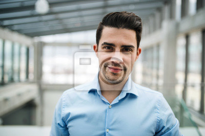 Fototapeta A portrait of young businessman standing indoors in an office.