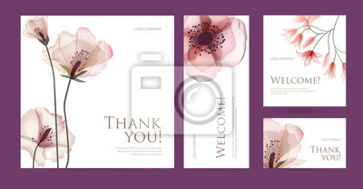 Fototapeta A set of postcard with the words of gratitude. Design template of business cards with abstract spring flowers for the hotel, beauty salon, spa, restaurant, club. Vector illustration