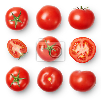 Fototapeta A set of ripe tomatoes whole and sliced isolated on white background. Top view.