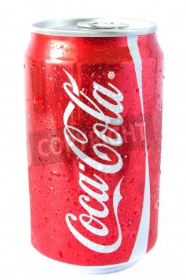 Fototapeta A shiny red can on coke or coca cola with a silver pop top covered with water droplets.