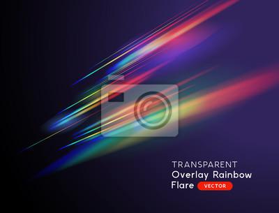 Fototapeta A transparent light leak camera rainbow streak effect. Vector illustration.