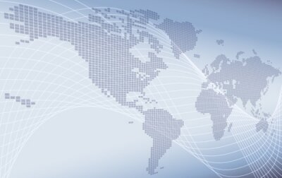 Fototapeta A world map background global business or technology abstract concept