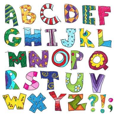 Fototapeta ABC. Dzieci śmieszne alfabet, wektor