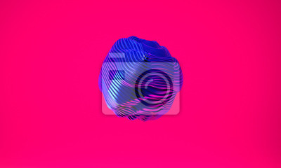 Fototapeta Abstract 3d graphic object on bright magenta background
