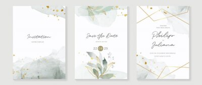 Fototapeta Abstract art background vector. Luxury invitation card background with golden line art flower and botanical leaves, Organic shapes, Watercolor. Vector invite design for wedding and vip cover template.