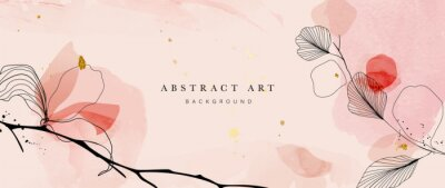 Fototapeta Abstract art botanical pink background vector. Luxury wallpaper with pink and earth tone watercolor, leaf, flower, tree and gold glitter. Minimal Design for text, packaging, prints, wall decoration.