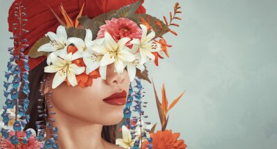 Fototapeta Abstract art collage of young asian woman with flowers