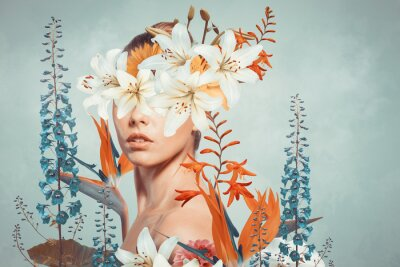 Fototapeta Abstract art collage of young woman with flowers