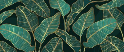 Fototapeta Abstract art Golden leaves background vector. Wallpaper design with line art texture from monstera leaves, Jungle leaves, exotic botanical floral pattern. Design for prints, banner, wall art.
