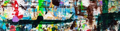 Fototapeta Abstract art with splashes of multicolor paint; as a fun; creative & inspirational background texture - in long panorama / banner.