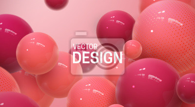 Fototapeta Abstract background with dynamic 3d spheres. Plastic red bubbles. Vector illustration of glossy balls. Bouncing particles. Modern trendy banner or poster design