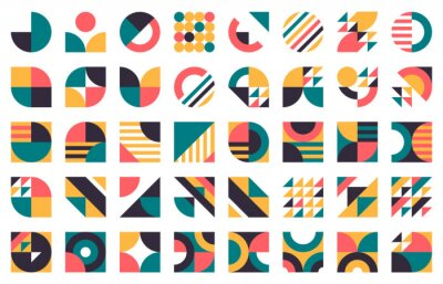 Fototapeta Abstract bauhaus shapes. Modern circles, triangles and squares, minimal style bauhaus figures vector illustration set. Graphic style design elements