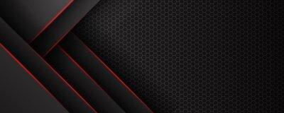 Fototapeta Abstract black grey metallic overlap red light hexagon mesh design modern luxury futuristic technology background vector illustration.