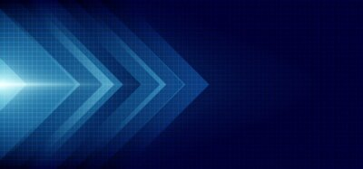 Fototapeta Abstract blue arrow glowing with lighting and line grid on blue background technology hi-tech concept