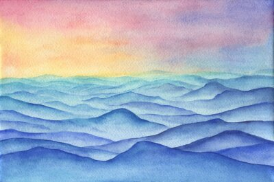 Fototapeta Abstract blue mountain landscape - the sand dunes in the desert on sunrise, panoramic view. Beautiful rocks, silhouettes hills and sand desert. Watercolor hand drawn painting illustration.