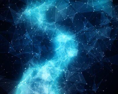 Fototapeta Abstract blue nebula in cosmos