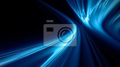 Fototapeta Abstract blue on black background texture. Dynamic curves ands blurs pattern. Detailed fractal graphics. Science and technology concept.