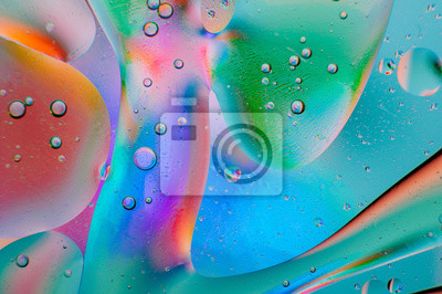 Fototapeta Abstract colorful macro background of oil drops