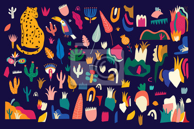 Fototapeta Abstract colorful tropical vector pattern