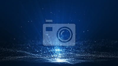 Fototapeta Abstract dark blue digital background with sparkling blue light particles and areas with deep depths Particles form into lines, surfaces and grids