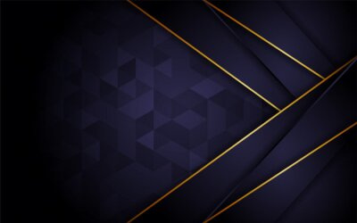 Fototapeta Abstract Dark Purple Triangle Texture Background Combination With Line Gold Element