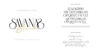 Fototapeta Abstract Fashion font alphabet. Minimal modern urban fonts for logo, brand etc. Typography typeface uppercase lowercase and number. vector illustration
