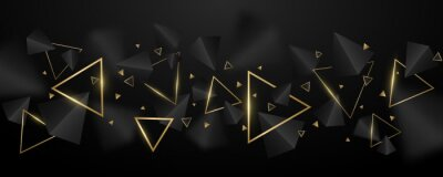 Fototapeta Abstract, geometric background. 3d, black and golden triangles. Elegant wallpaper design for template, cover or banner. Decorative, polygonal shapes. Vector illustration