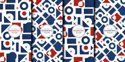 Fototapeta Abstract geometric pattern combination set. Vector circle, triangle, square lines color art wallpaper. Brochure template red blue collection for fabric patterns and wrapping paper.