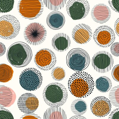 Abstract geometric seamless pattern with doodle circles and geometric shapes. Trendy hand drawn textures. Modern abstract design for paper, cover, fabric, interior decor