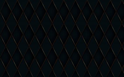 Fototapeta Abstract gold border with black diamond pattern luxury background. 3d vector illustration